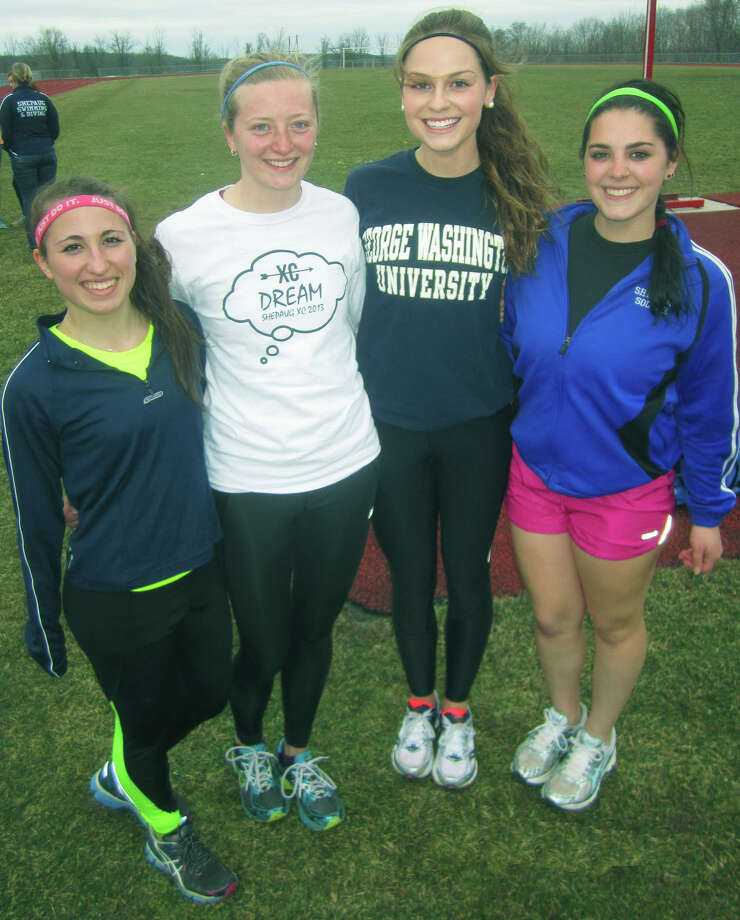Serving the Spartans in positions of leadership this spring will be, from left to right, Kelsey Hall, Clara Wolfe, Taylor Weston and Tia Martino of Shepaug Valley High School girls' track. April 2014 Photo: Norm Cummings / The News-Times
