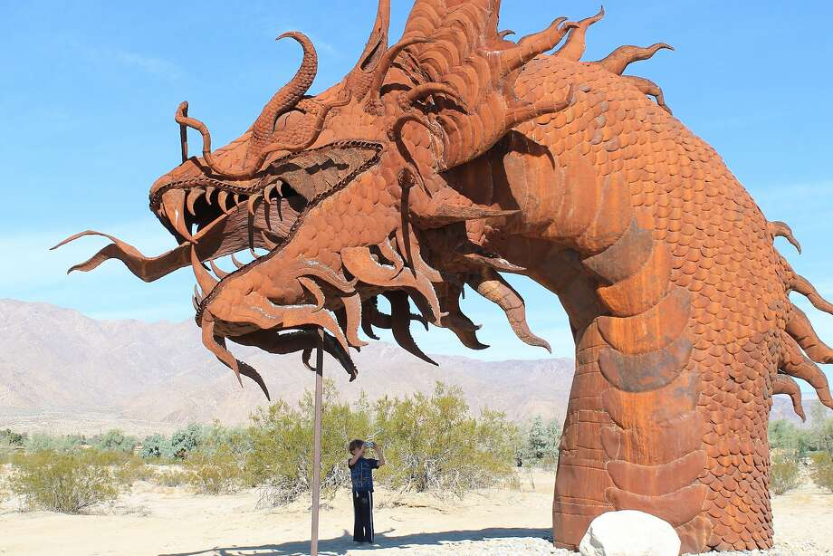 Anza Borrego: A bit of perspective of the height of the serpent sculpture in Galleta Meadows. Photo: Michele Bigley, Special To The Chronicle