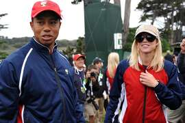 Tiger Woods (seen with ex-wife Elin Nordegren) famously was exposed for carrying on multiple affairs, one-night-stands, hookups etc. in 2009 by The National Enquirer. More than a dozen women admitted to affairs with Woods. His marriage ended in 2010.