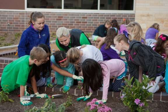 Parent Heather Rexrode, center, and Frostwood Elementary School pupils check for caterpillars on milkweed plantings in the school's garden.