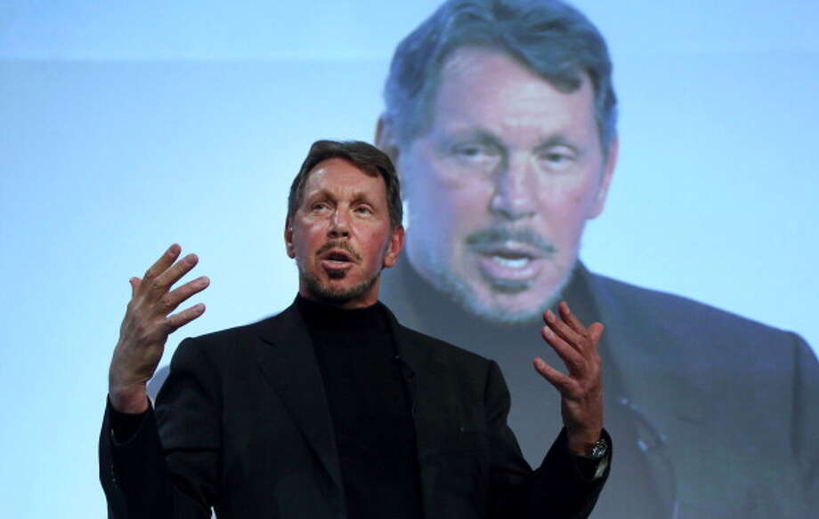 Larry Ellison, chief executive officer of Oracle Corp., gestures as he makes a speech at the New Economy Summit 2014 in Tokyo, Japan, on Wednesday, April 9, 2014. The conference, hosted by the Japan Association of New Economy, will be held through April 10. Photographer: Tomohiro Ohsumi/Bloomberg via Getty Images Photo: Bloomberg, Bloomberg Via Getty Images / © 2014 Bloomberg Finance LP