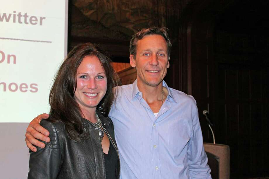 Nicole Cribbins, president of the Young Women's League of New Canaan, and Jim Ziolkowski, founder and CEO of buildOn. YWL is donating funds to buildOn. Photo: Contributed Photo, Contributed / New Canaan News Contributed