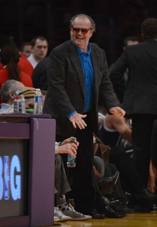 Jack Nicholson smiles during a 106-95 Laker win over the Oklahoma City Thunder at Staples Center on January 27, 2013 in Los Angeles, California.  NOTE TO USER: User expressly acknowledges and agrees that, by downloading and or using this photograph, User is consenting to the terms and conditions of the Getty Images License Agreement.  (Photo by Harry How/Getty Images) Photo: Harry How, Getty Images / 2013 Getty Images