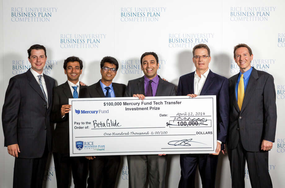 The BetaGlide team, which competed in this year's Rice Business Plan Competition, has plenty to brag about. The Houston-based Mercury Fund awarded the team from the Indian Institute of Technology a $1 million prize. Photo: ShauLin Hom