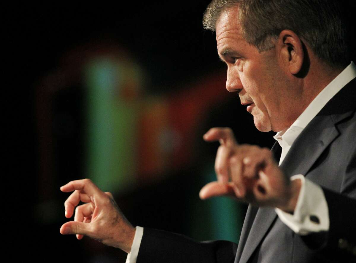 Former U.S. Homeland Security Secretary Tom Ridge presents the keynote address during Kaspersky Lab's annual CyberSecurity Summit called