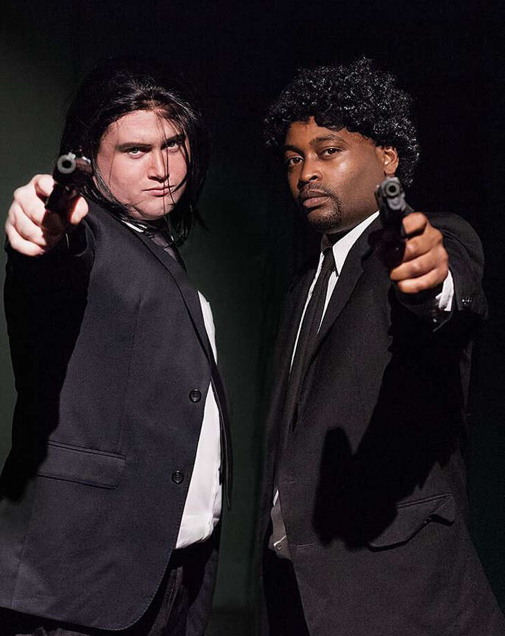 "Jon Smith (left) and Justin Keown play Vincent Vega and Jules Winfield in the Rose Theatre Company's ""Pulp Fiction: Live on Stage."" Photo: Courtesy Karyn Collins"