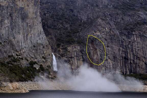Photo of a rockfall occurring near Wapama Falls in the Hetch Hetchy area of Yosemite National Park, March 31, 2014