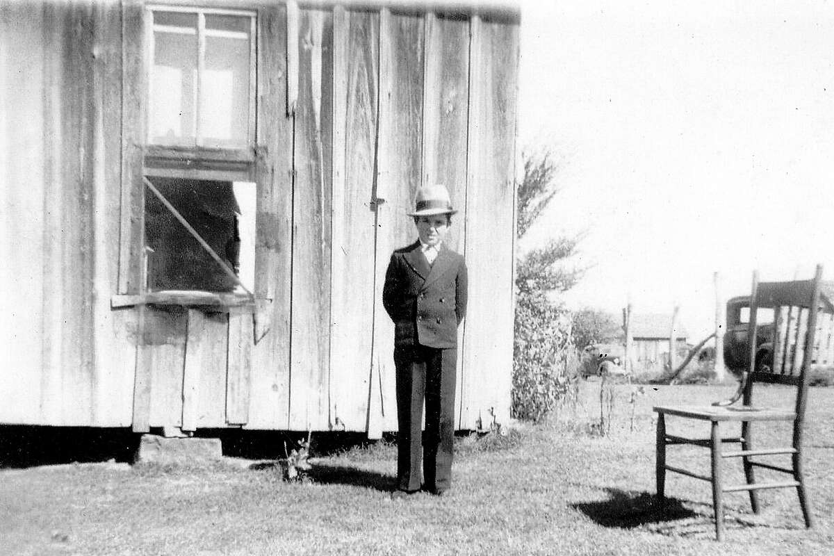 Harold Moore in front of the house he was born in Alex, AK. He was 6 years old, so probably 1934