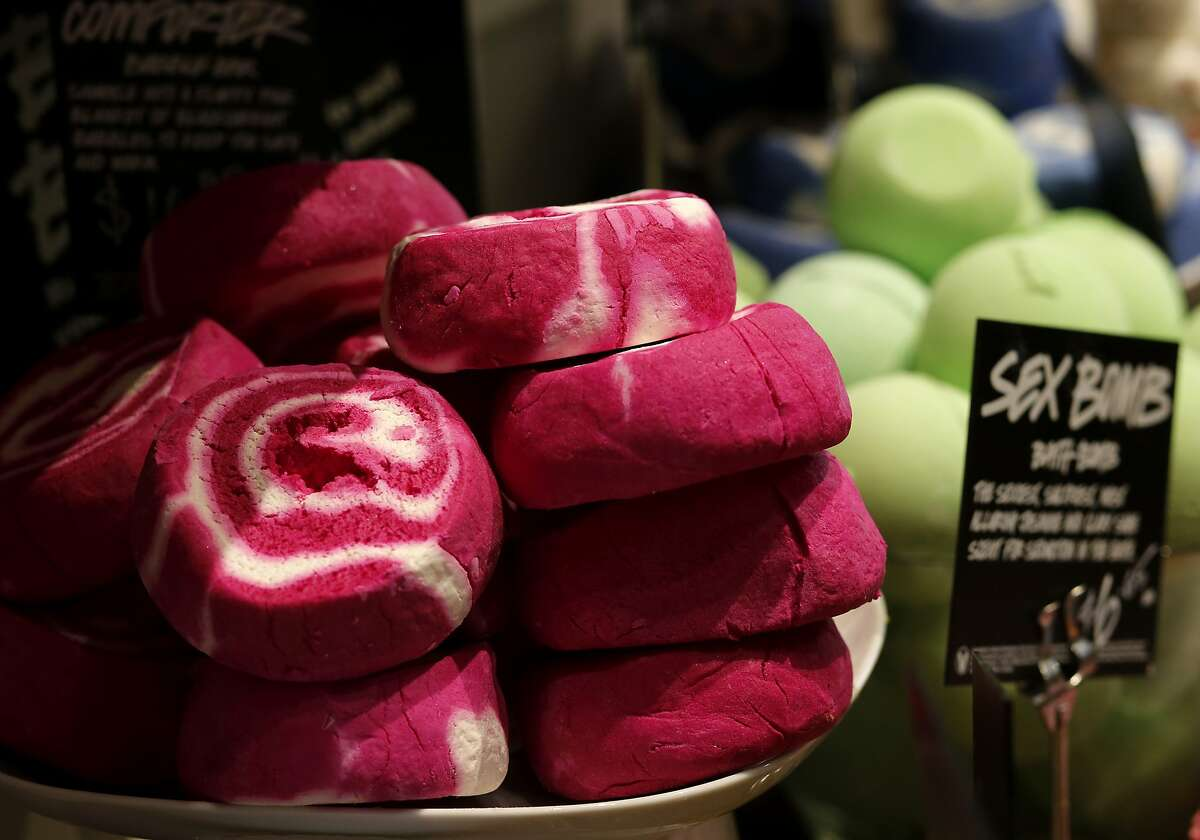 A selection of bubble bath products look like fancy desserts at LUSH Tuesday April 15, 2015 in San Francisco, Calif. LUSH products never use plastic microbeads and instead use natural ingredients like ground almonds or sea salt.