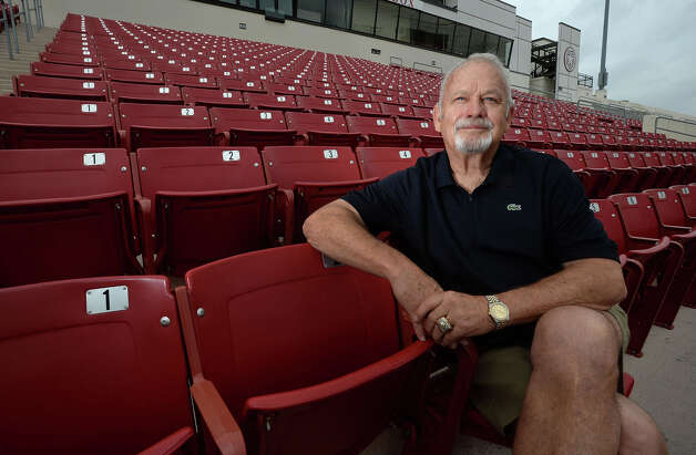 Texas sports legend Bill Bradley sits inside Provost-Umphrey Stadium at Lamar University. After two successful seasons, Bradley retired as the team's defensive coordinator last month. From