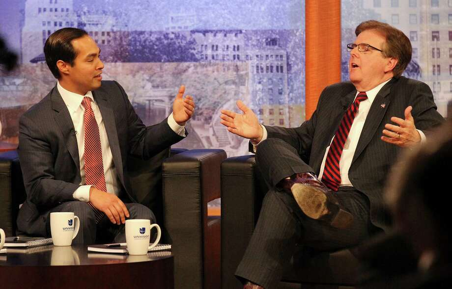 Mayor Julian Castro (left) and State Sen. Dan Patrick, R-Houston, square off for a debate at Univision television on Tuesday, Apr. 15, 2014. Photo: Kin Man Hui, San Antonio Express-News / ©2014 San Antonio Express-News