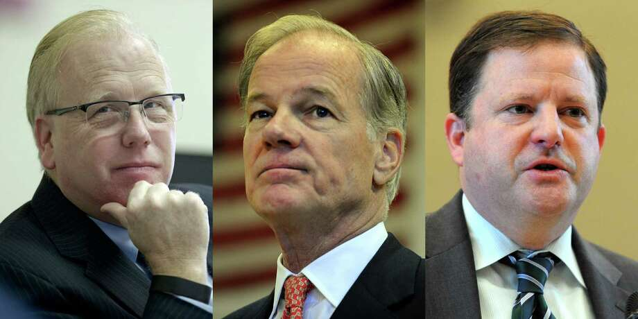 Republican gubernatorial candidates from left, Danbury Mayor Mark Boughton, former ambassador to Ireland Tom Foley and state Senate Minority Leader John McKinney Photo: File Photo / Greenwich Time
