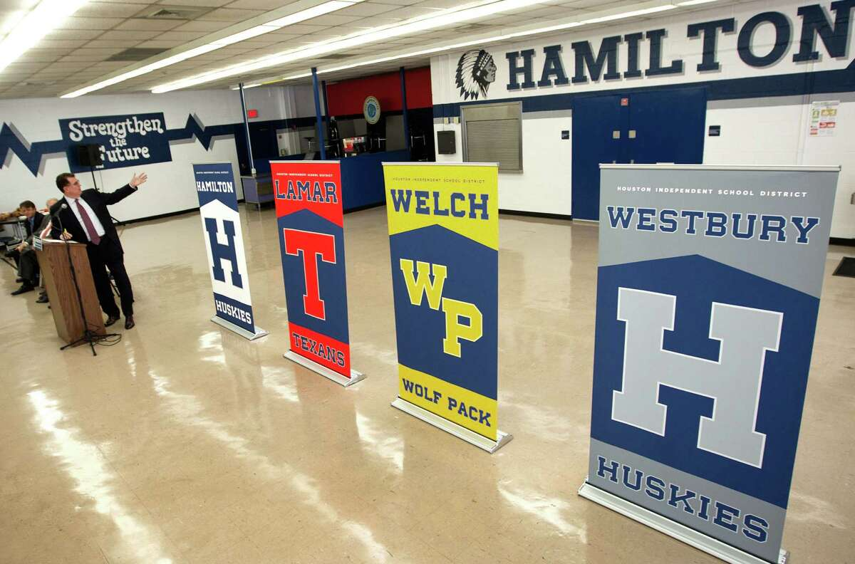 Superintendent Dr. Terry Grier, introducing the mascot names Tuesday at Hamilton, won the HISD board's approval for the stricter school policy in December.