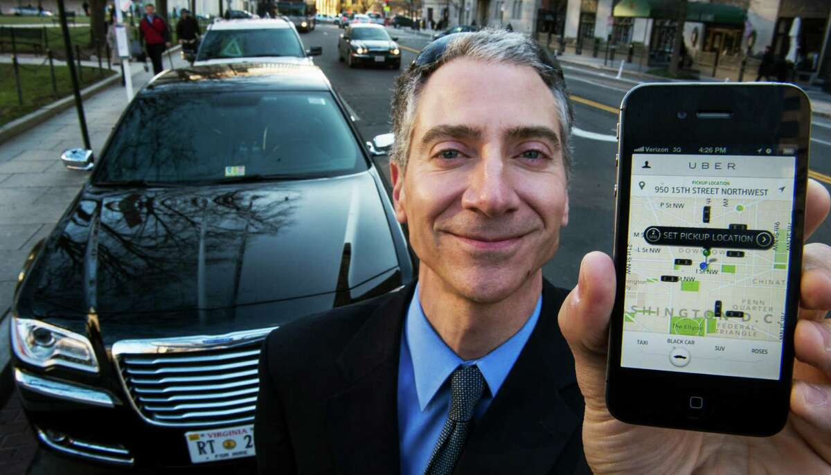 Peter Faris, head of Szabo Faris LLC Transportation Solutions in Washington, D.C., works with Uber, a technology firm that has created an app that allows consumers to use their mobile devices to request a nearby taxi or limousine. Uber is presently fighting Houston officials over the city's ban on charging for rides.