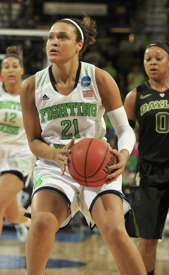 """Kayla McBride, drafted third by the Stars: """"I'm planning on being here for awhile and just trying to leave a positive impact on the first day."""" Photo: Joe Raymond / Associated Press / FR25092 AP"""