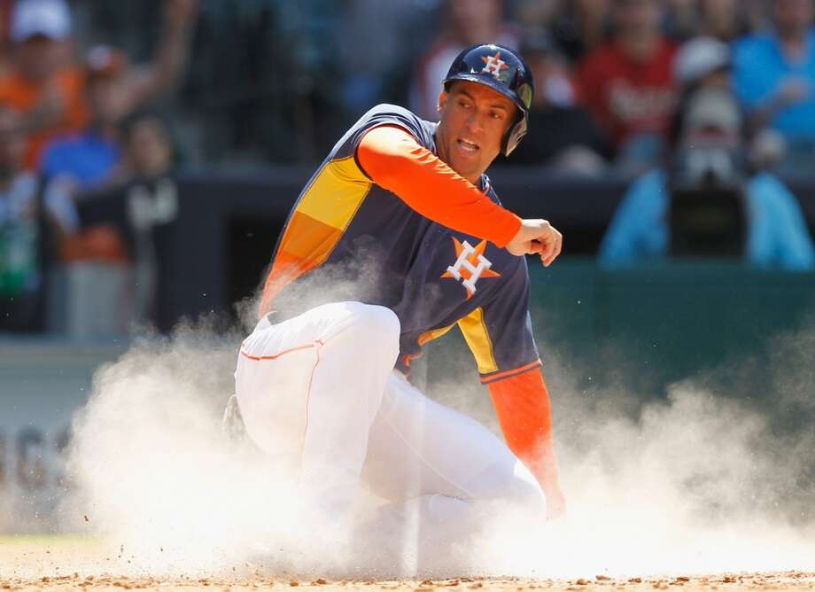 New Britain native and former UConn star George Springer made his Major League debut with the Houston Astros on April 16, 2014. He's a rising star on a team full of them. Photo: Bob Levey, Associated Press