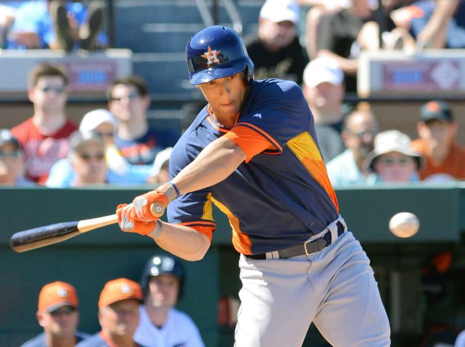 George Springer #79 of the Houston Astros bats during the spring training game against the Detroit Tigers at Joker Marchant Stadium on March 1, 2014 in Lakeland, Florida. The Tigers defeated the Astros 5-1.  (Photo by Mark Cunningham/MLB Photos via Getty Images) Photo: Mark Cunningham, Getty Images