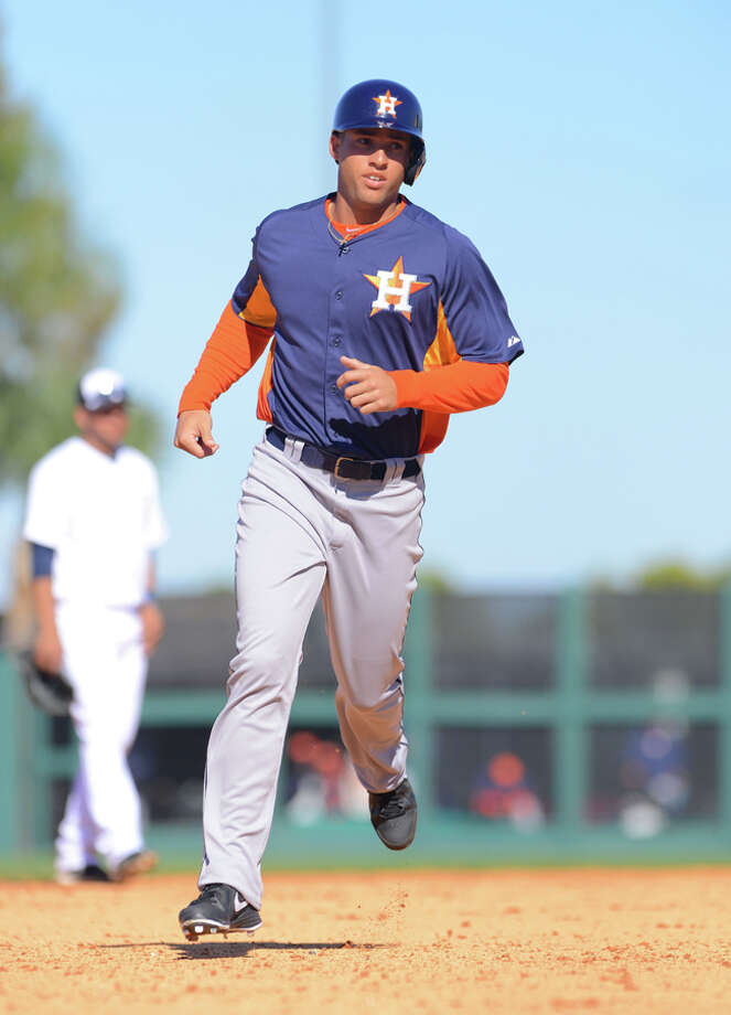 George Springer #75 of the Houston Astros runs the bases during the spring training game against the Detroit Tigers at Joker Marchant Stadium on March 4, 2013 in Lakeland, Florida. The Tigers defeated the Astros 8-5.  (Photo by Mark Cunningham/MLB Photos via Getty Images) Photo: Mark Cunningham, Getty Images / 2013 Mark Cunningham