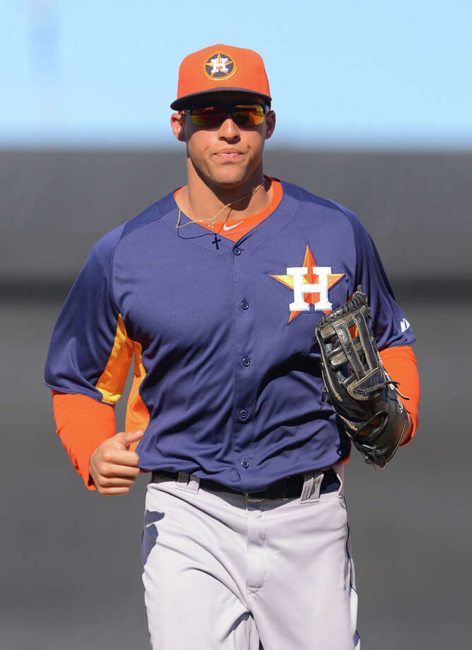 George Springer #75 of the Houston Astros looks on during the spring training game against the Detroit Tigers at Joker Marchant Stadium on March 4, 2013 in Lakeland, Florida. The Tigers defeated the Astros 8-5.  (Photo by Mark Cunningham/MLB Photos via Getty Images) Photo: Mark Cunningham, Getty Images / 2013 Mark Cunningham