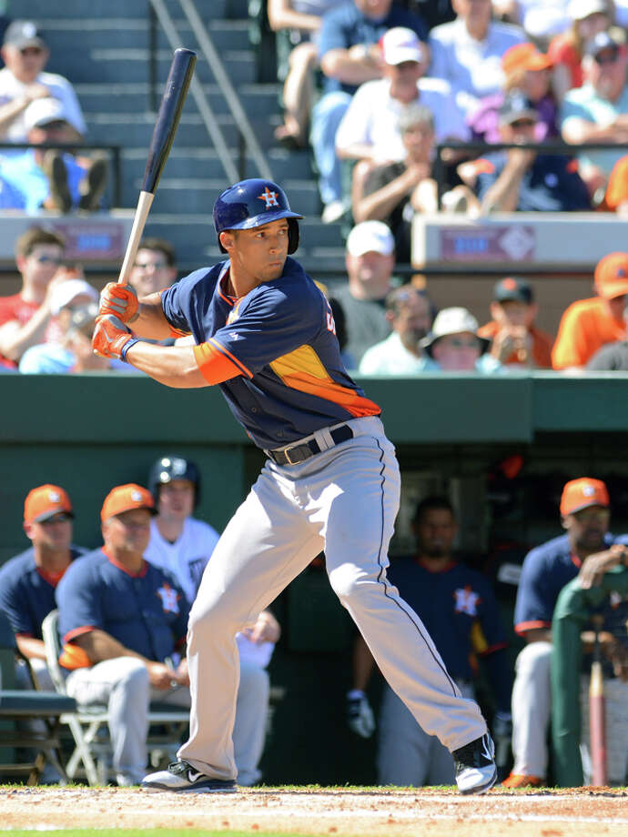George Springer #79 of the Houston Astros bats during the spring training game against the Detroit Tigers at Joker Marchant Stadium on March 1, 2014 in Lakeland, Florida. The Tigers defeated the Astros 5-1.  (Photo by Mark Cunningham/MLB Photos via Getty Images) Photo: Mark Cunningham, Getty Images / 2014 Mark Cunningham