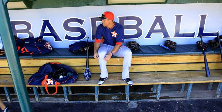 Houston Astros George Springer (79)  in the dugout before a spring training game between Houston Astros and the Detroit Tigers, Saturday, March 1, 2014, in Lakeland. ( Karen Warren / Houston Chronicle ) Photo: Karen Warren, Houston Chronicle