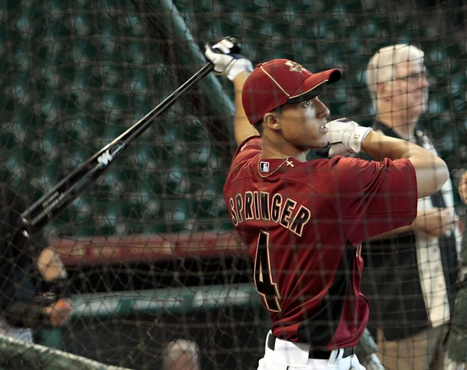 Houston Astros first round draft pick George Springer takes batting practice at Minute Maid Park on August 19, 2011 in Houston, Texas. Springer was introduced earlier to the media at a press conference.  (Photo by Bob Levey/Getty Images) Photo: Bob Levey, Getty Images