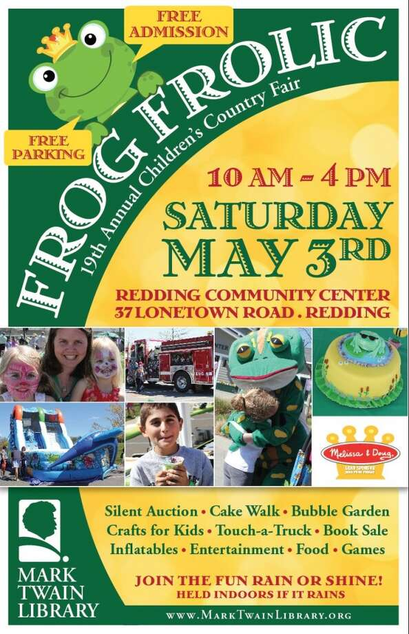 "Take your kids to the annual Frog Frolic in Redding. The free event on Saturday runs from 10 a.m.-4 p.m. at the Redding Community Center. Activities include kiss-a-frog, a bubble garden, bounce houses, touch-a-truck, storybook characters, a book sale, and make-your-own crafts. Plus a ""cake walk"" contest, silent auction, and food. Find out more."