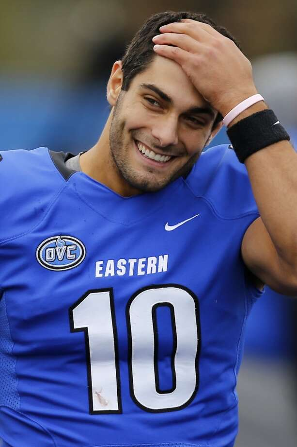 Second round, No. 61 overall: Jimmy Garoppolo, Eastern Illinois It's unlikely Garoppolo will last until 61 so the 49ers might have to trade into the bottom of the first round to get him. He's maybe the fastest rising player in this year's draft, with his quick decision-making, accurate arm and rapid release. He spent 45 minutes throwing with Harbaugh after his pro day. Photo: Stephen Hass, Associated Press
