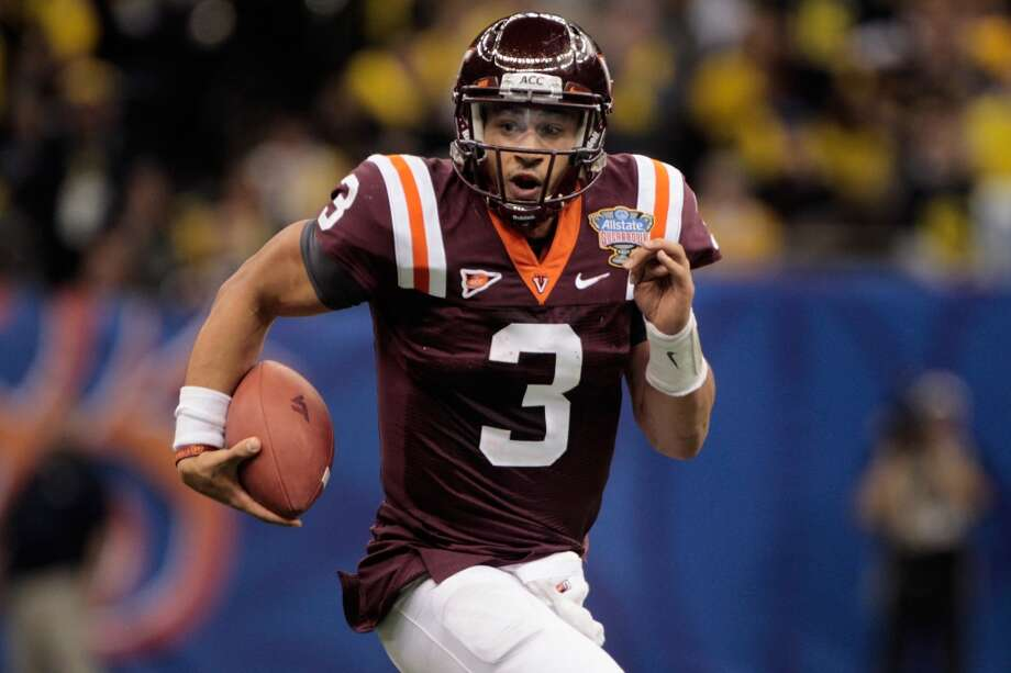 Seventh round, No. 242 overall: Logan Thomas, Virginia TechThomas was checked out by the 49ers and Harbaugh. At 6-6, 248 pounds, Thomas can run and also has a cannon of an arm. While he can sometimes look like a sure-fire first-round pick, more often he looks undraftable. But Harbaugh loves to mold raw passers. Photo: Chris Graythen, Getty Images