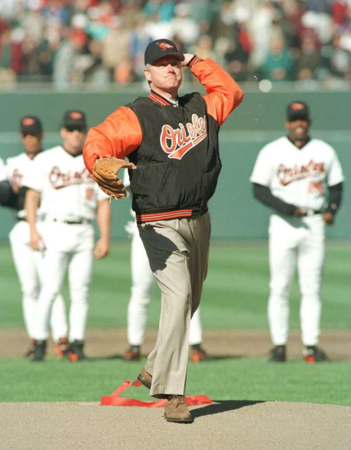 2 APR 1996:  President Bill Clinton throws out the ceremonial first pitch at Oriole Park at Camden Yards as the Baltimore Orioles opened there season versus the Kansas City Royals. Mandatory Credit: Doug Pensinger/ALLSPORT Photo: Doug Pensinger, Getty Images / Getty Images North America