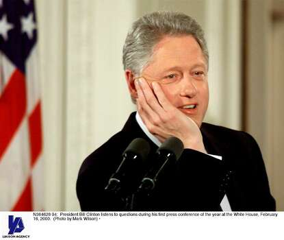 N364626 04: President Bill Clinton listens to questions during his first press conference of the year at the White House, February 16, 2000. (Photo by Mark Wilson) Photo: Mark Wilson, Getty Images / Getty Images North America