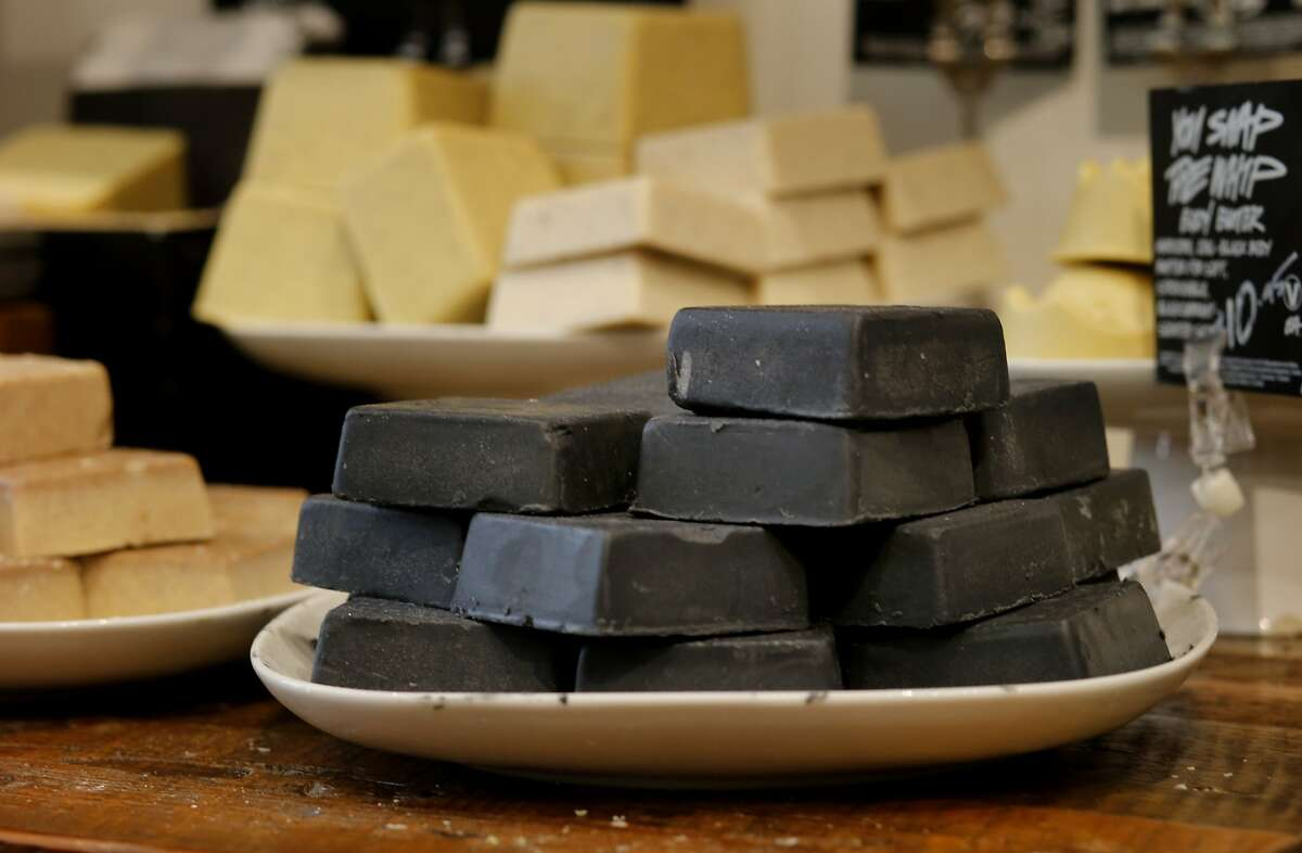 Body bars at LUSH feature natural exfoliates Tuesday April 15, 2014 in San Francisco, Calif. LUSH products never use plastic microbeads and instead use natural ingredients like ground almonds or sea salt.