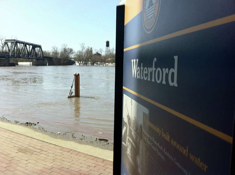 Flood waters rise along the Mohawk River in Waterford on Wednesday, April 16, 2014. (Kenneth C. Crowe II / Times Union)