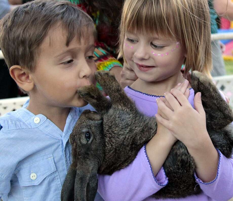 (l-r) Three year-old Andres Carette kisses a bunny rabbit as four year-old Angelina Davis holds it close. During National Night Out at Nellie Keyes Park in the Rice Military neighborhood in Houston, Texas, Tuesday October 2, 2012. (Billy Smith II / Houston Chronicle) Photo: Billy Smith II, Chronicle