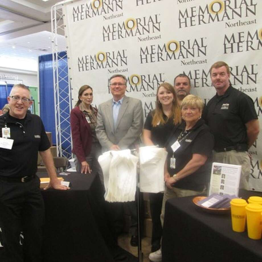 Newly elected Humble City Council member Norman Funderburk, third from left, paid a visit to the Memorial Hermann Northeast Hospital booth at the Lake Houston Chamber's recent Business Expo.