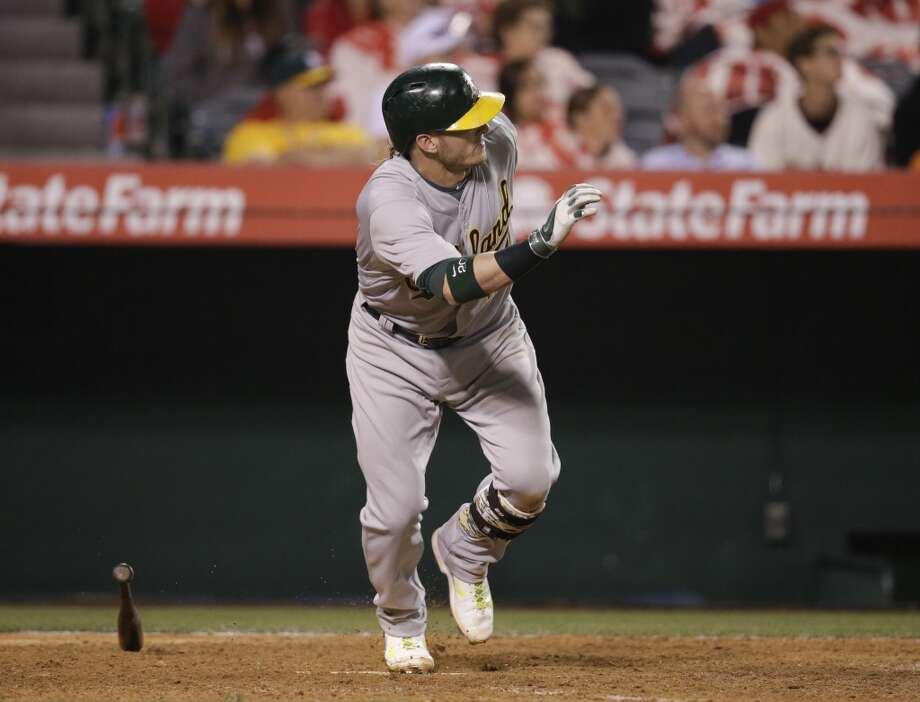 Oakland Athletics' Josh Donaldson watches after hitting a RBI-double during the 11th inning of a baseball game against the Los Angeles Angels on Tuesday, April 15, 2014, in Anaheim, Calif. Photo: Jae C. Hong, Associated Press