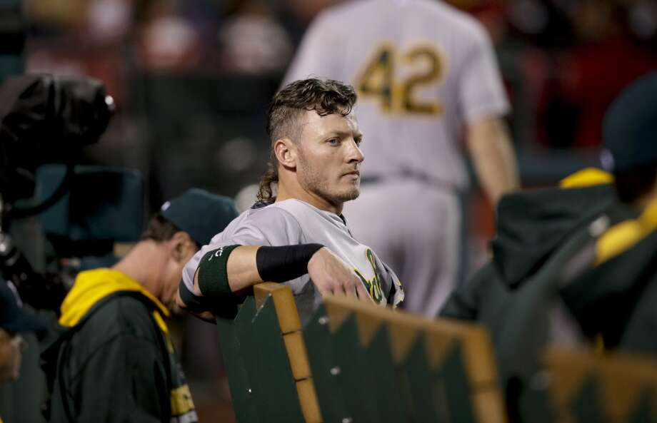 Oakland Athletics' Josh Donaldson sits on the bench during the eighth inning of a baseball game against the Los Angeles Angels on Tuesday, April 15, 2014, in Anaheim, Calif. Photo: Jae C. Hong, Associated Press