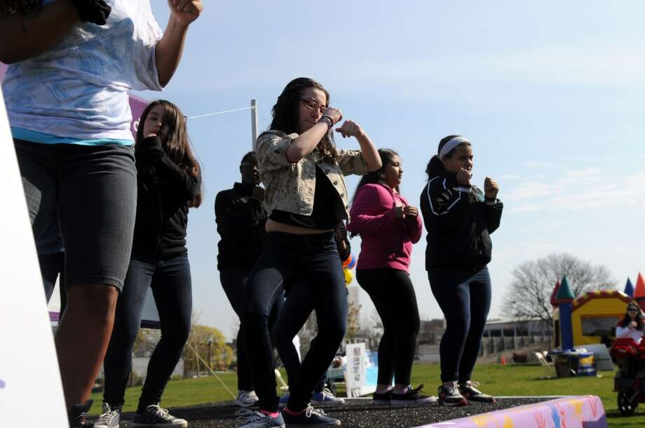 The Dolan School Drill Team performs as the March for Babies, the March of Dimes march for babies, kicks off at Commons Park in Stamford Conn., April 28, 2013. Photo: Keelin Daly