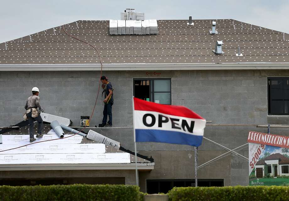 Housing starts, such as this home in Florida under construction this week, are up. Photo: Joe Raedle, Getty Images