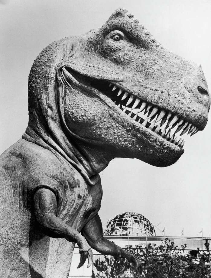 A closeup of a life-sized model of a tyrannosaurus rex dinosaur in the Sinclair Dinoland exhibit at the World's Fair, New York City. The Unisphere is visible in the background. Photo: Hulton Archive, Getty Images / Archive Photos