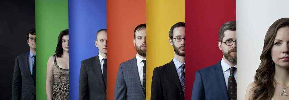 "Pictured in ""Wet Ink Ensemble - Final"", L to R: Sam Pluta, Erin Lesser, Ian Antonio, Joshua Modney, Eric Wubbels, Alex Mincek, Kate Soper"