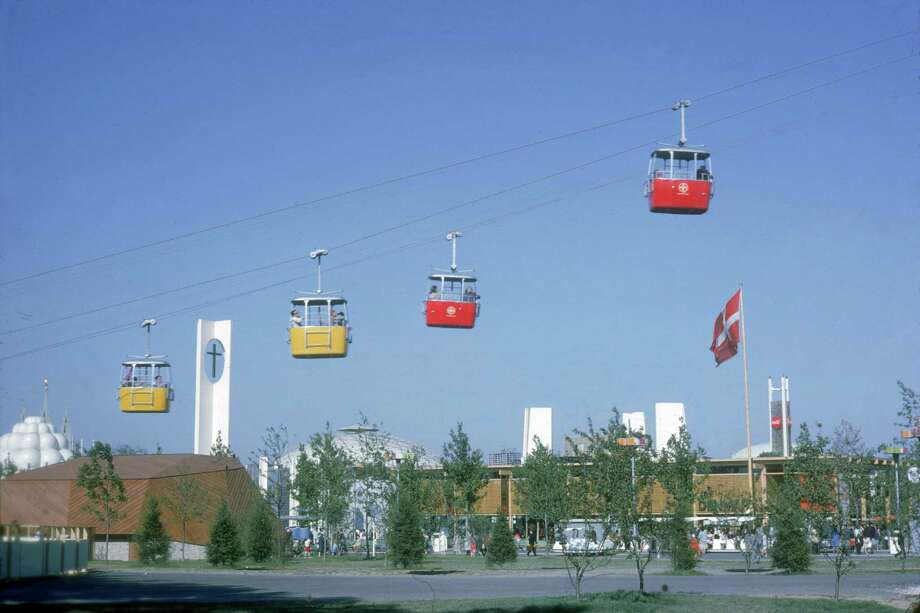 View of the cable-cars of the Swiss Sky Ride as they pass the Swiss pavilion in the international area at the New York's World's Fair, Flushing Meadows, New York, New York, May 1964. Photo: Katherine Young, Getty Images / 2007 Getty Images