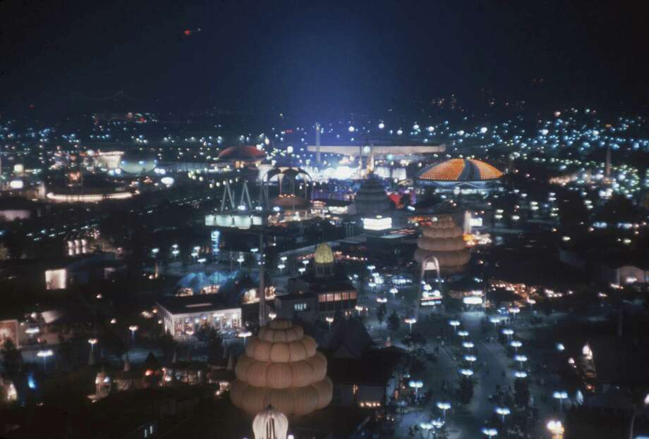 An aerial nighttime view of the grounds at the New York's World's Fair, as seen from the New York State Tower, Flushing Meadows, New York, New York, September 1964. Photo: Katherine Young, Getty Images / 2007 Getty Images