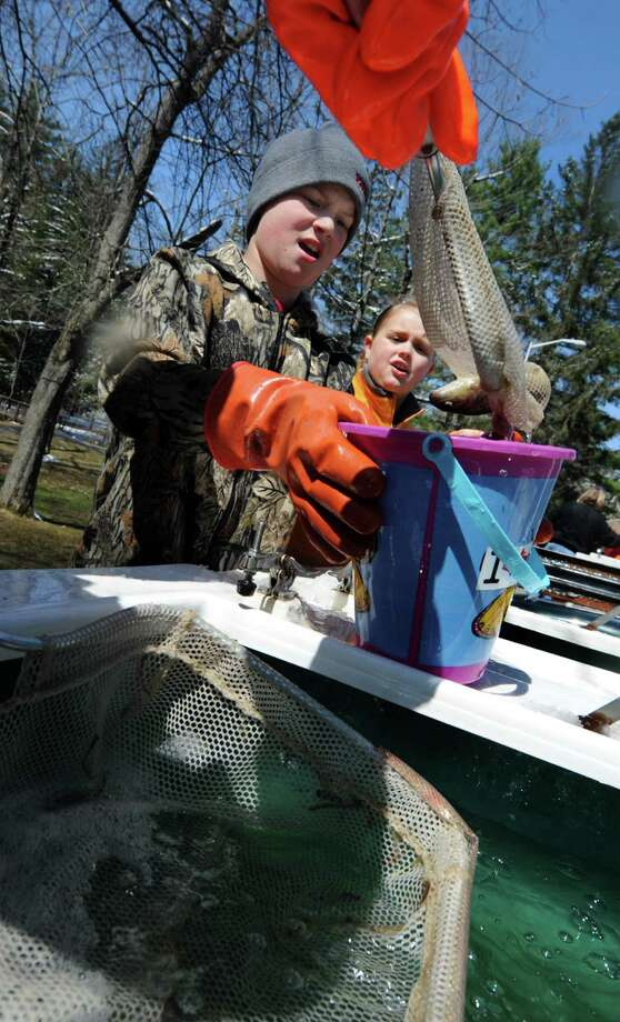 Larry J. Kroon, 11, center, and his sister Marijke Kroon, 9, help move 950 brown trout during the annual fish stocking at Geyser Creek on Wednesday, April 16, 2014, at Saratoga Spa State Park in Saratoga Springs, N.Y. The children were helping their father, Larry Kroon, who's a fish culturalist for the DEC Van Hornesville Fish Hatchery. (Cindy Schultz / Times Union) Photo: Cindy Schultz / 00026440A