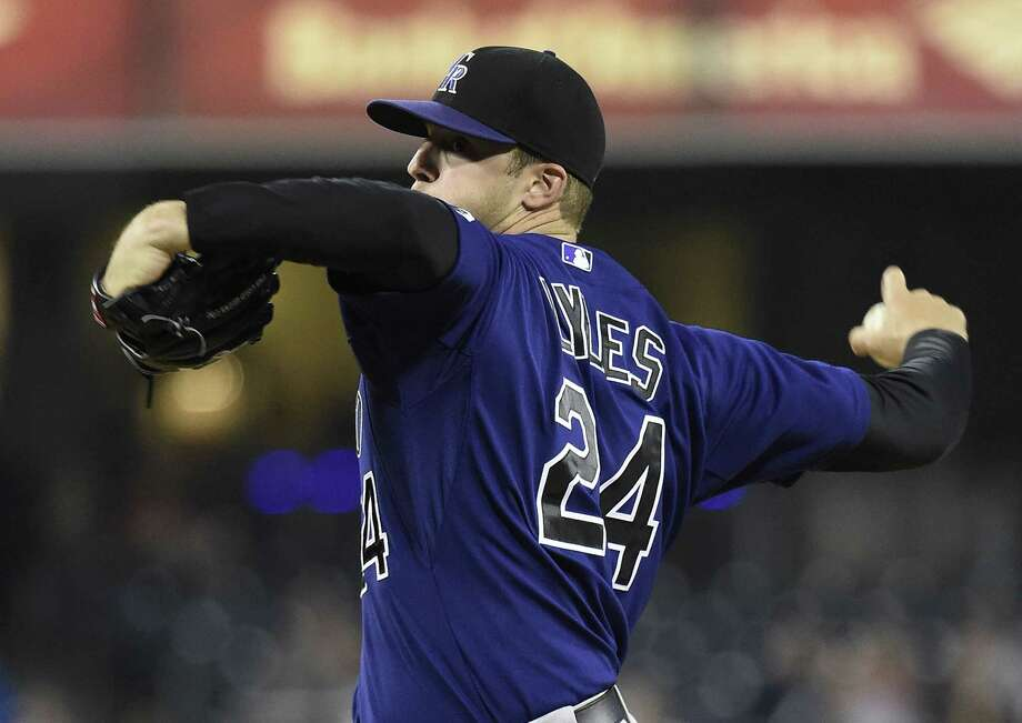 Jordan Lyles opens the 2014 season with the Colorado Rockies after spending three years with the Houston Astros. He went 14-29 with a 5.35 ERA over 65 starts with Houston. Photo: Denis Poroy, Getty / 2014 Getty Images