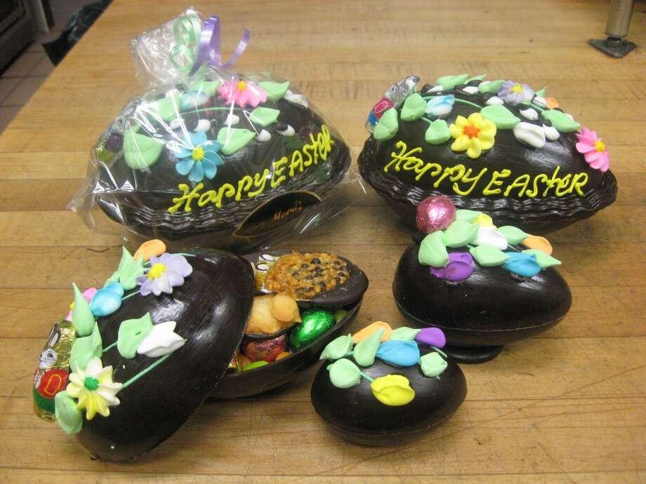Chocolate eggs from St. Moritz Bakery in Greenwich: Eggs come in various sizes and are filled with candy.  Visit the site  St. Moritz Bakery, 383 Greenwich Ave, Greenwich
