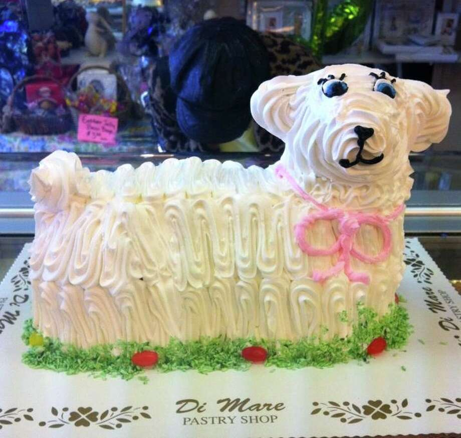 Lamb cake from Di Mare in Stamford and Greenwich: The traditional vanilla lamb cake comes with lemon filling.  Full Easter Menu.   Di Mare Pastry Shop, 12 Largo Drive South, Stamford and 1245 Post Road, Riverside
