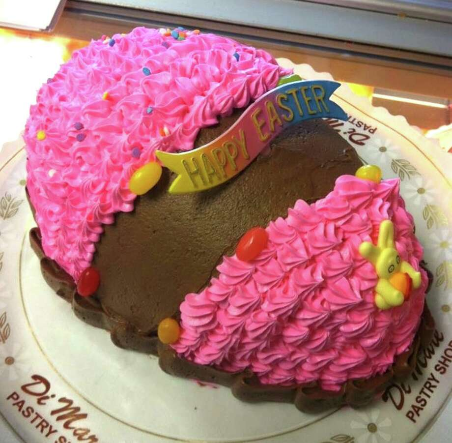 Easter cake from Di Mare in Stamford and Greenwich: Easter cakes come in vanilla, chocolate, vanilla cake with lemon filling, vanilla cake with raspberry filling or chocolate cake with raspberry filling.  Full Easter Menu.   Di Mare Pastry Shop, 12 Largo Drive South, Stamford and 1245 Post Road, Riverside