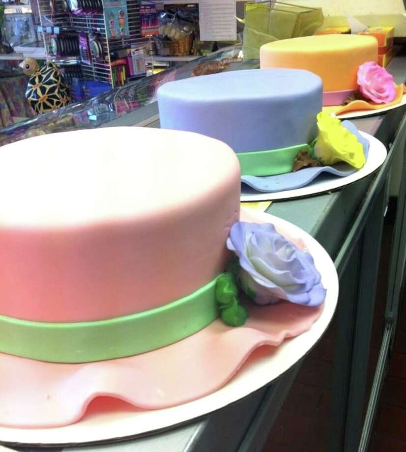 Easter cake from Di Mare in Stamford and Greenwich:Hat cakes can be ordered in custom color combinations.  Full Easter Menu.   Di Mare Pastry Shop, 12 Largo Drive South, Stamford and 1245 Post Road, Riverside