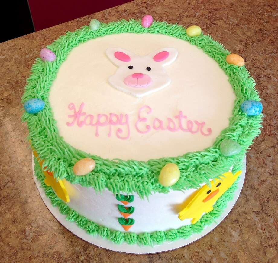 Easter cake from Forever Sweet Bakery in Norwalk: Chocolate cake with vanilla icing and fondant bunnies, chicks and Jelly Beans.    Visit the site  Forever Sweet Bakery, 4 New Canaan Avenue, Norwalk